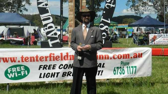 Michael Cross was awarded best dressed man at the Tabulam races.