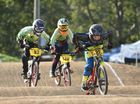 Maryborough BMX Twilight Meet - Cody Silsby with Connor McGillivray and Logan Dullaway from Maryborough in pursuit in the 11yrs boys race. Photo: Alistair Brightman / Fraser Coast Chronicle