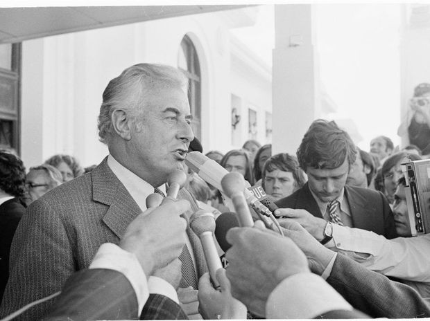 November 11, 1975, one of the most controversial days in Australia's history. Prime Minister Gough Whitlam addresses the crowd after being dismissed in what was labelled a constitutional crisis. Photo: National Archives of Australia.