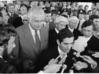November 11, 1975, one of the most controversial days in Australia's history. Prime Minister Gough Whitlam looks on as the Governor-General's official secretary David Smith reads out Sir John Kerr's announcement that he has dismissed Whitlam's ALP government. PHOTO: National Archives of Australia
