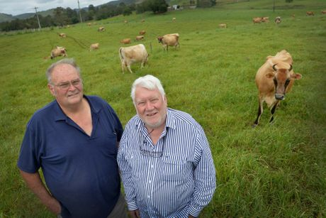 Professor of Sustainability at the University of the Sunshine Coast (right) Tor Hundlo and Cooloola Milk owner operator Dick Schroeder.Photo Patrick Woods / Gympie Times