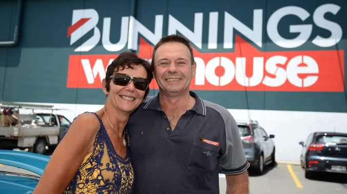 Valerie Le Hars (pictured with her partner/husband) doesn't think letting dogs into Bunnings is a good idea. Photo Allan Reinikka / The Morning Bulletin