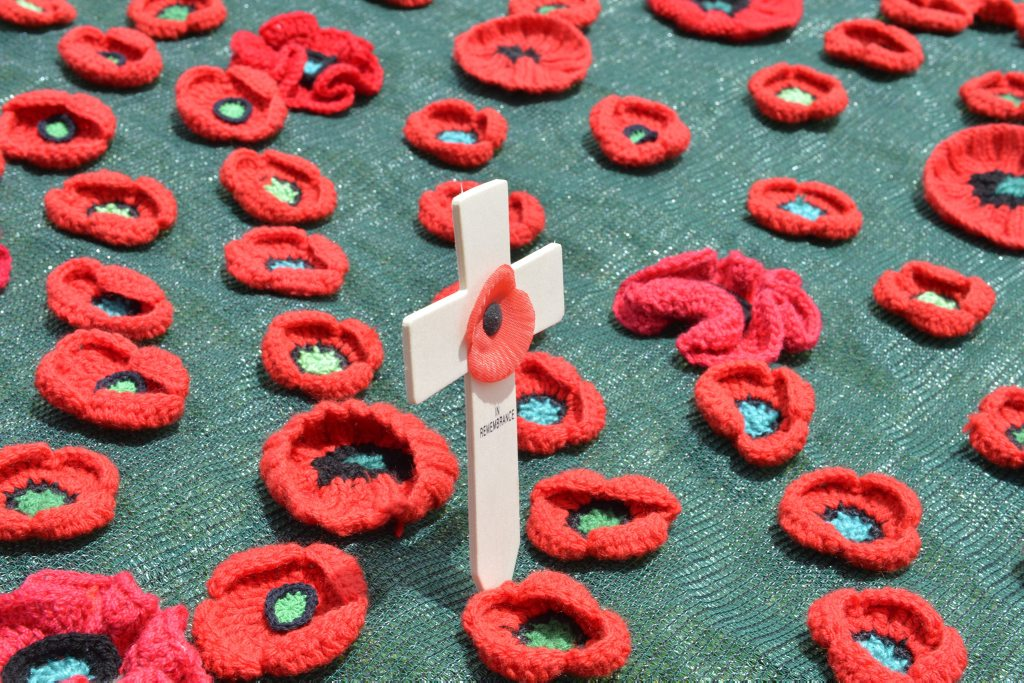 War Widows' Guild members created poppies for the display used in the Remembrance Day service at the Mother's Memorial.