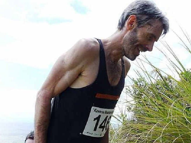 Amos Saraber making the climb during Kawerau King of the Mountain Race in New Zealand.
