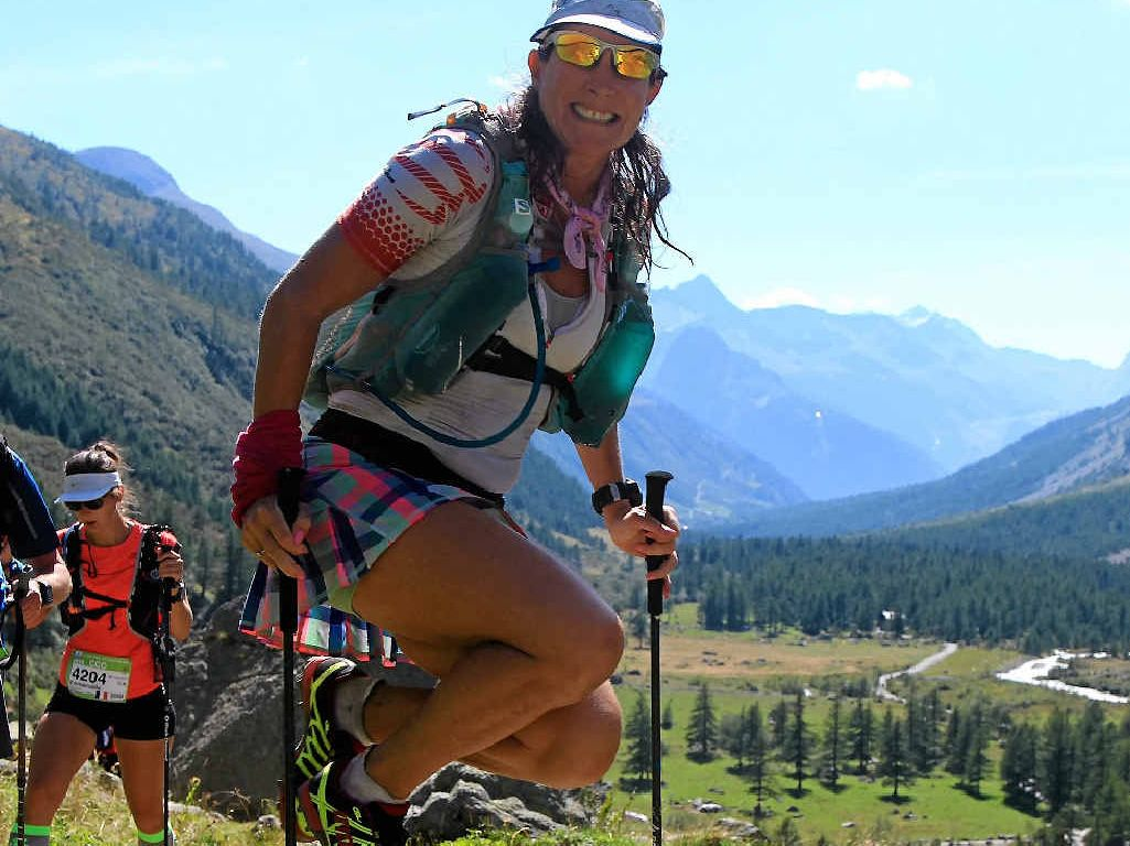 AMAZING EFFORT: Chrissy Lando was the only Australian woman to finish the Ultra Trail Du Mont Blanc race. INSET: The start of the race.