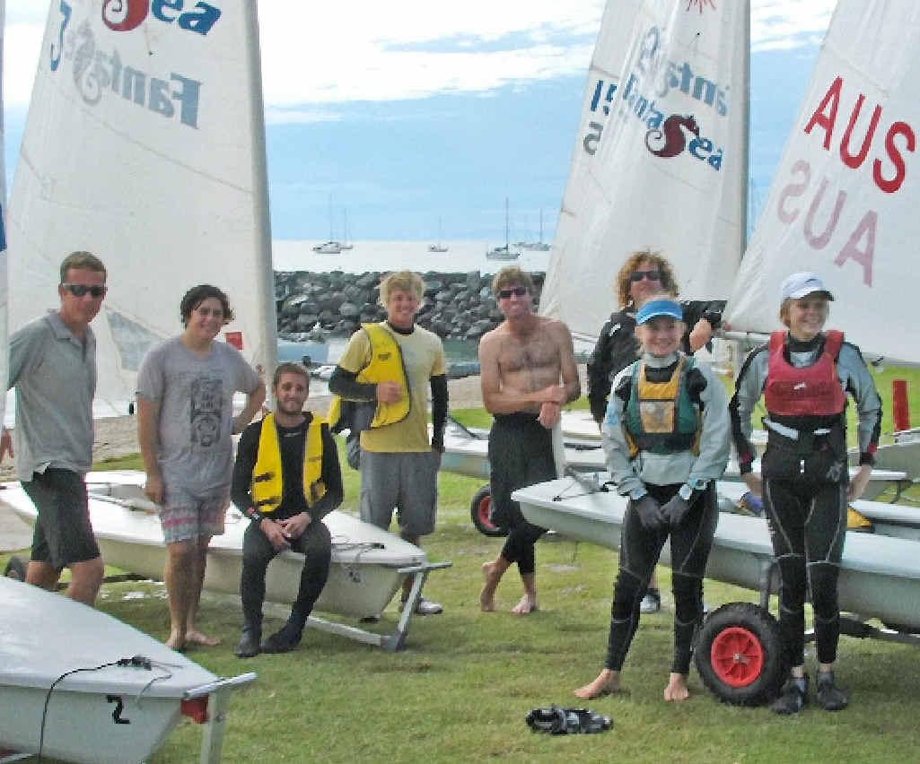 LOCAL TALENT: Whitsunday off-beach sailors Tristram Mairs, Dan Townsend, Michael and David Chengody, Shannon Hart, Luke Mairs, Eva Lorenz and Jasmin Tickle.