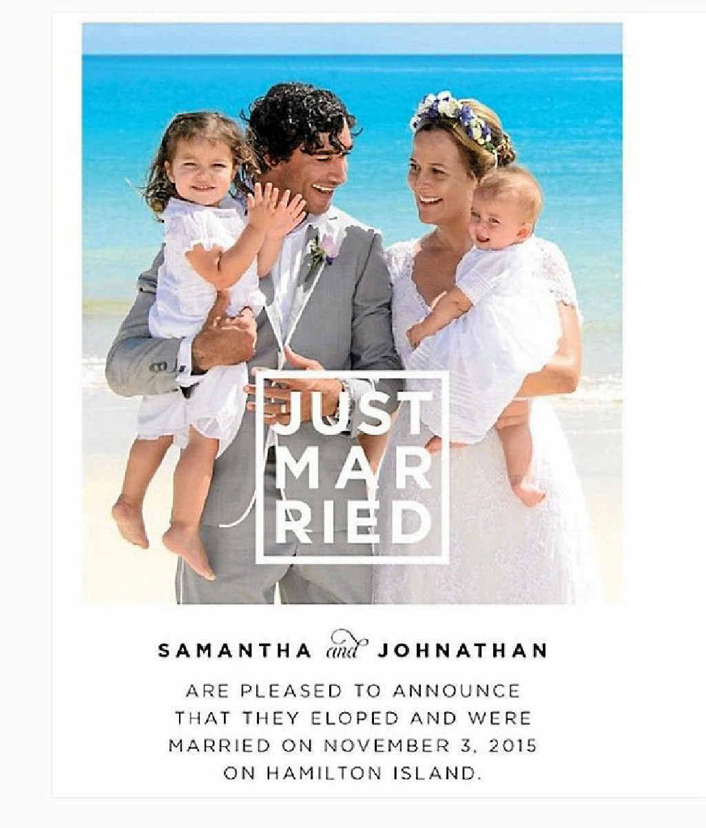 NEWLYWEDS: Johnathan Thurston and Samatha Lynch married on Hamilton Island on Novermber 3.
