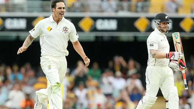 GOT HIM: Mitch Johnson dismisses Brendon McCullum. He's now targeting Kiwi gun Kane Williamson.