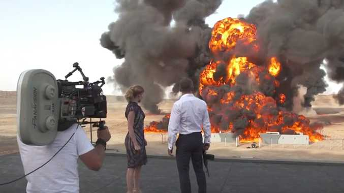 Lea Seydoux and Daniel Craig  film a scene for the movie Spectre.