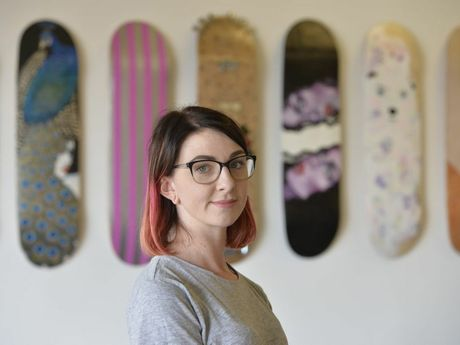 Fastplant skate expo opens Friday night at Kontraband, artist Alysa Timmer has created a work in the exhibition. Photo Bev Lacey / The Chronicle
