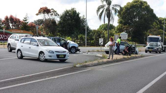 The scene of a car crash at the intersection of Sneaths Road and the Bruxner Highway at Wollongbar. Photo Karin von Behrens / The Northern Star