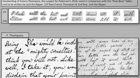 A comparison of handwriting between famous London poet Francis Thompson and notorious mass murderer Jack the Ripper from Richard Patterson's research. Photo Contributed