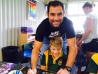Cameron Smith visits Walloon State School. Photo Contributed