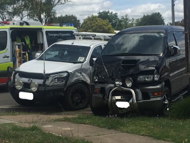 Two-vehicle crash at the corner of Albion and Albert St, Warwick.
