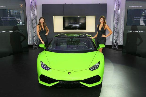 RAGING BULL: New Huracan Spyder was revealed at Lamborghini Brisbane showroom to celebrate its grand opening