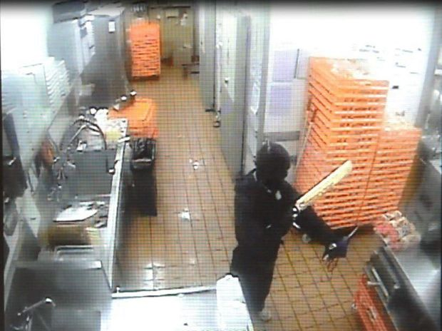 CCTV footage of an armed robbery at a Hungry Jacks that occurred on Sunday morning, 8 November 2015. Photo: contributed