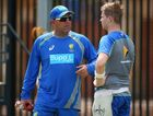 Darren Lehmann talks with Steven Smith during an Australian nets session at WACA yesterday. Photo: Paul Kane/Getty Images.