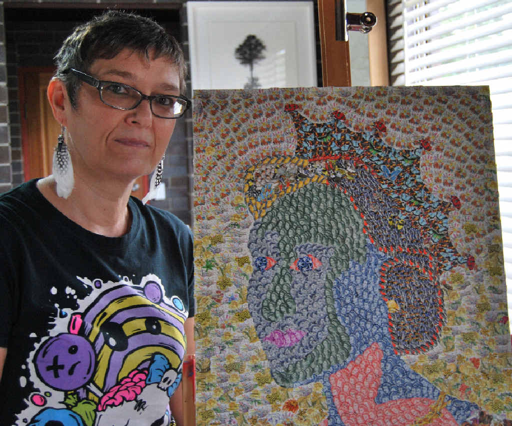 ARTIST: Marlies Oakley with her artwork of the Queen.