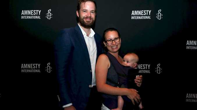 Australian Regional Media online news editor Owen Jacques with wife Bianca Clare and daughter Madeleine Jacques at the Amnesty Media Awards in Sydney this week.