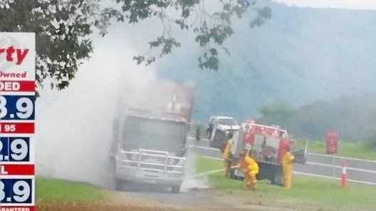The Raven's truck which caught fire at Mann River Caravan Park. Photo: contributed