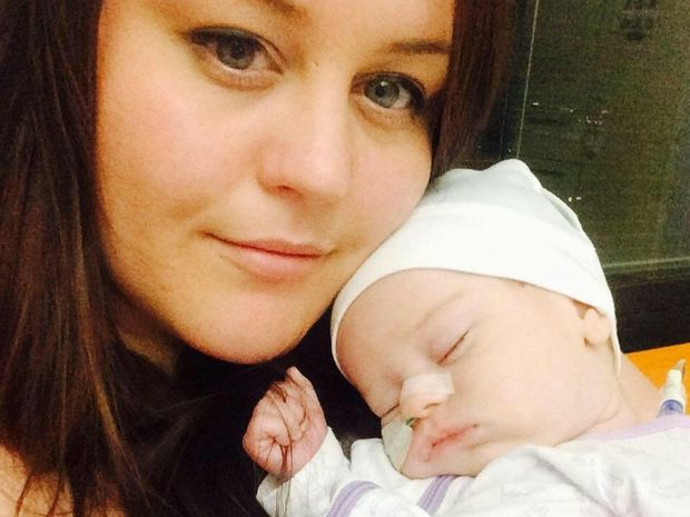 Lauren McGregor and baby Kori who nearly died from meningitis caused by group B streptococcus bacteria.