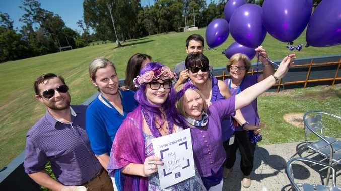 Anthea Flowers with supporters at BDC for Marion Magnolia foundation. 12 November 2015. Photo Trevor Veale/Coffs Coast Advocate