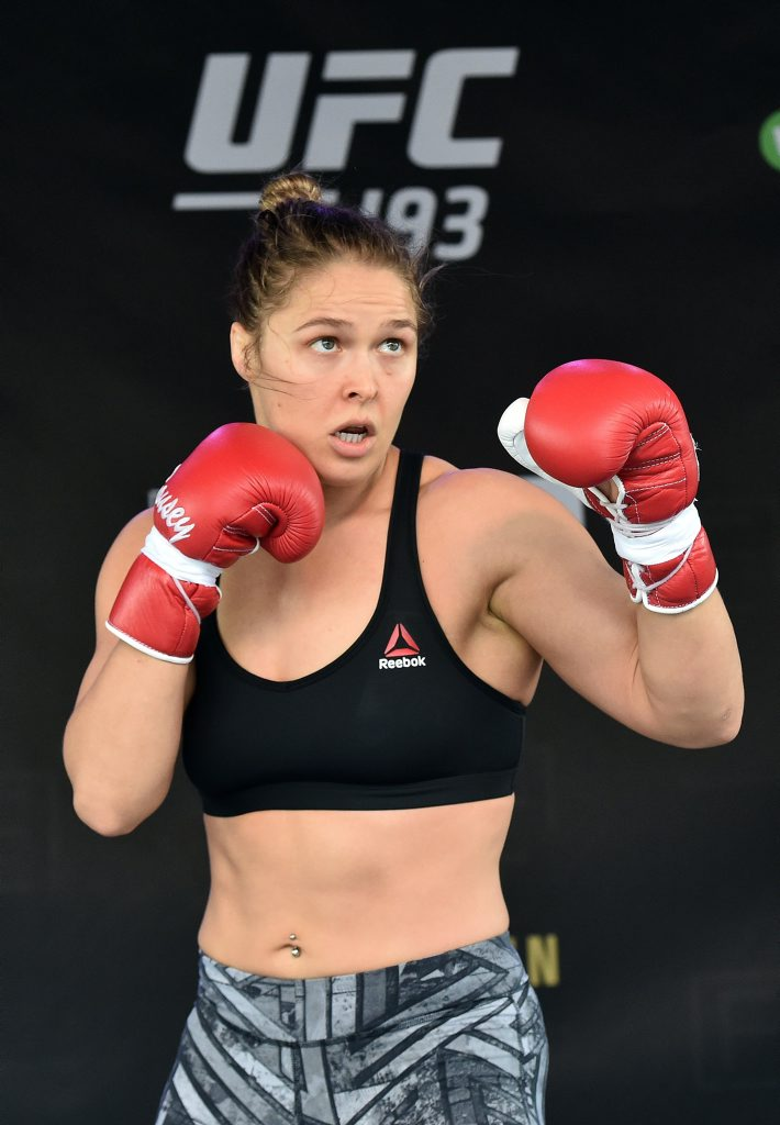 Ronda Rousey trains at Federation Square in Melbourne. Photo: AAP Image/Julian Smith.
