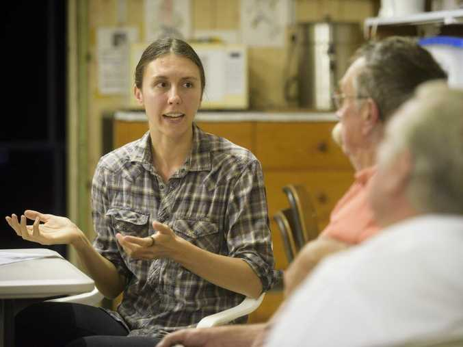Lindsey Nietmann, who is in Iluka from the University of Washington speaks to members of the Maclean District Avicultural Society about her work studying the Rufous Fantail bird in the rainforest.Photo Adam Hourigan / The Daily Examiner