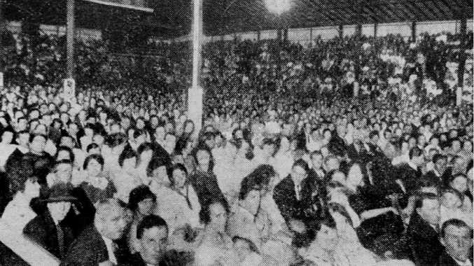 """FULL HOUSE: Martoos Ipswich """"Olympia"""" theatre was crowded for a film screening and concert in 1922."""