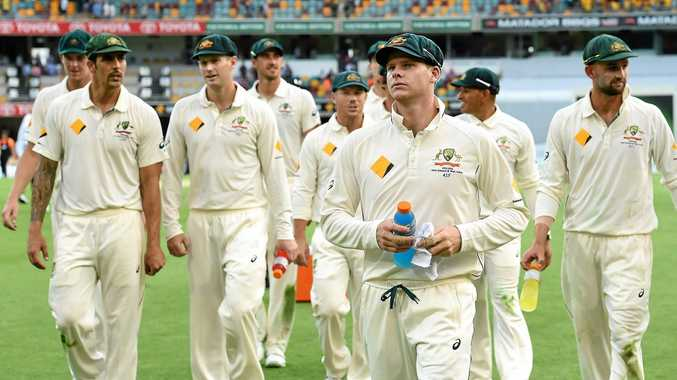 Australian skipper Steve Smith leads his team against the Black Caps last November.