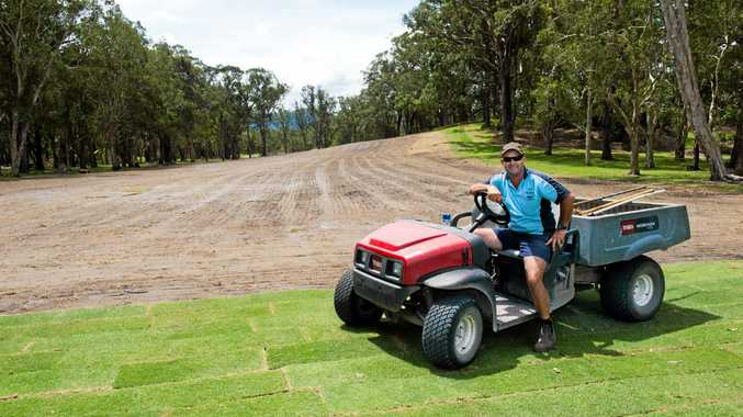 Coffs Harbour Golf Club's course supintendent Justin Sheehan surveys the result of the major earth works on the 23rd fairway.