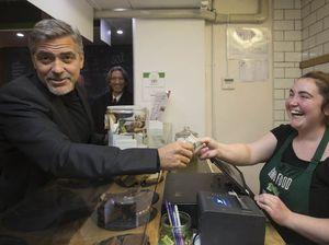George Clooney visits Social Bite café to help homeless