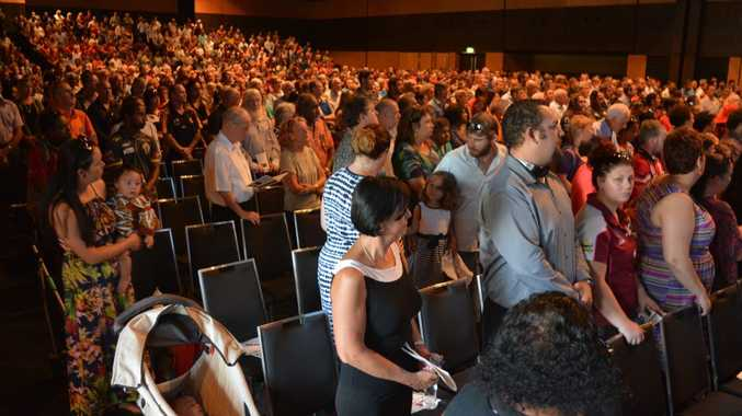 Thousands attend the funeral service off Greg Sutherland at the MECC Photo Troy Kippen / Daily Mercury