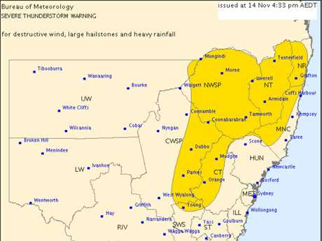 The severe thunderstorm warning was issued at 4.55pm on Saturday, November 14, 2015.