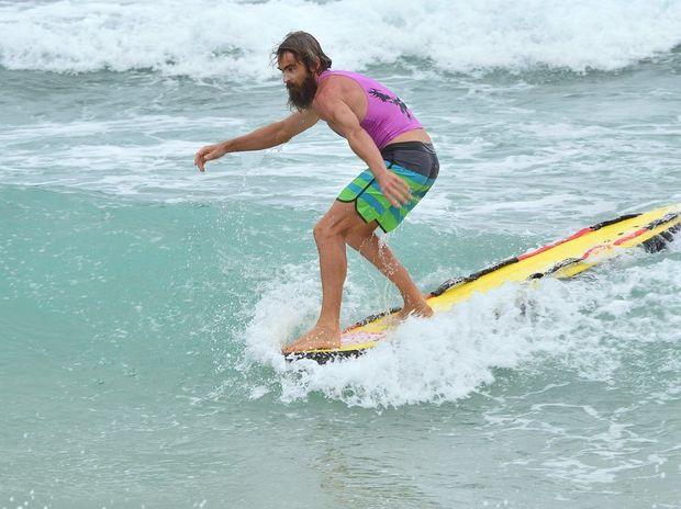 Damien Andrew at the Corporate Surf Event at Kawana Surf Club. Photo: John McCutcheon / Sunshine Coast Daily
