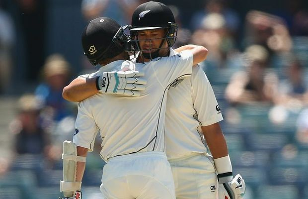 Ross Taylor celebrates with Kane Williamson after reaching his century during day three of the second Test match between Australia and New Zealand at the WACA. Photo: Robert Cianflone/Getty Images.