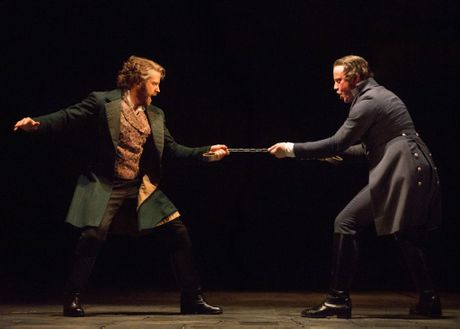 Simon Gleeson, left, and Hayden Tee in a scene from the musical Les Miserables. Supplied by AKA Australia. Please credit photo to Matt Murphy.