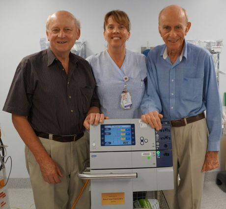 Former chair of Bowelscan project Bob Kretchmann, Toowoomba Hospital Gastroenterological Nurse Co-ordinator Wendy Irwin and Bowelscan project and former Toowoomba Hospital doctor Dr Patrick Murray.