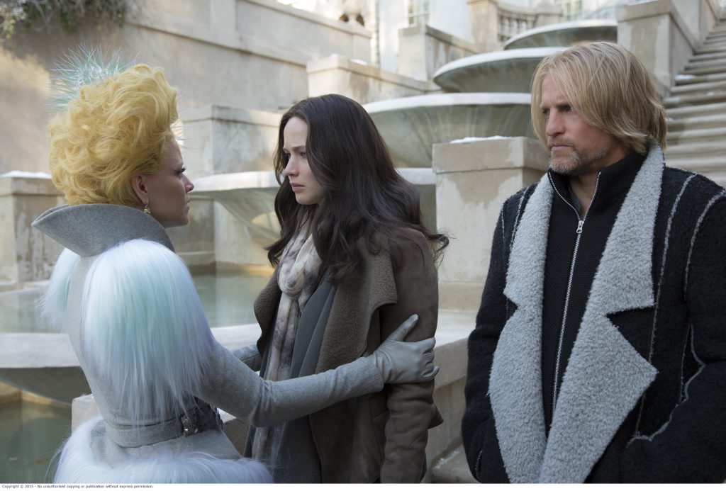 Elizabeth Banks, Jennifer Lawrence and Woody Harrelson in a scene from the movie The Hunger Games: Mockingjay - Part 2.
