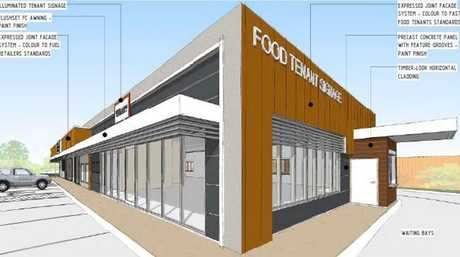 Design plans for the service station/fast food restaurant in Westbrook.