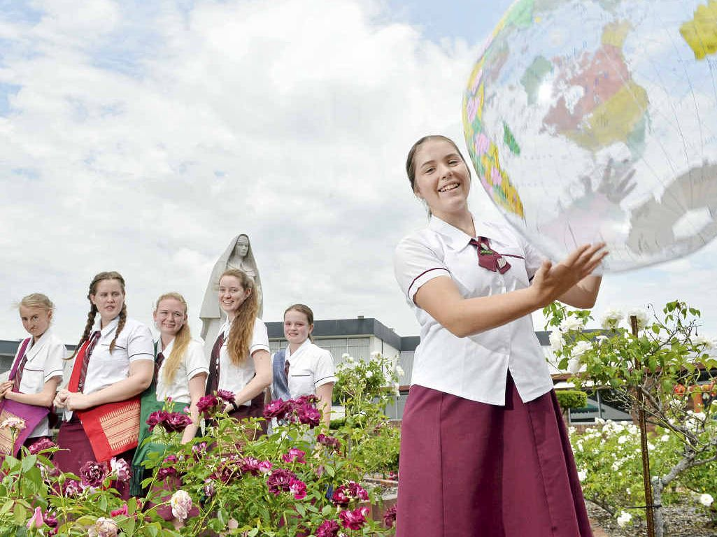 "BON VOYAGE: St Mary's students Matilda Thomas, 17, Nikki Blayden, 17, Ashleigh Bullock, 16, Nimh Conway, 17, Olivia Doyle, 17, and Kristen Lunney, 15, are heading to Cambodia for the ""trip of a lifetime""."