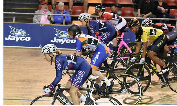 WAITING GAME: Brooke leads the pack out in the Keirin.