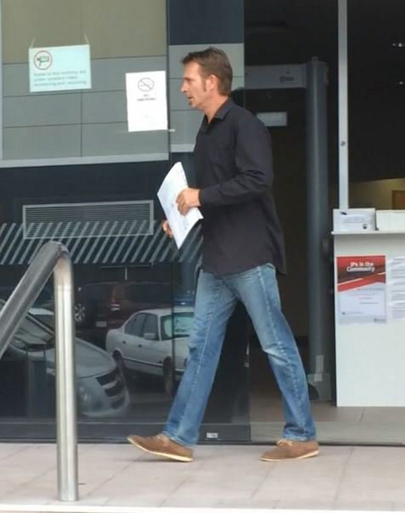 Russell Evans leaves Maroochydore Courthouse after appearing in a Coroner's inquest into the death of his former neighbour Anthony William Young.