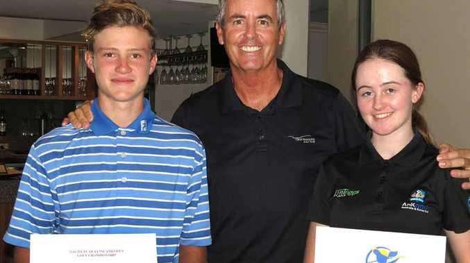 STAR MEETING: Hatton Vale golfer Jed Morgan meets with Aussie golf legend Ian Baker-Finch after starring on the Sunshine Coast with teenager Karis Davidson.