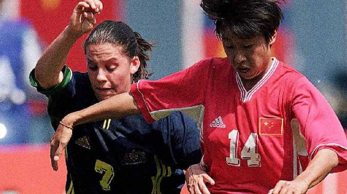 Lisa Casagrande, left, in action for the Matildas against China during the 1999 Women's World Cup in the United States.