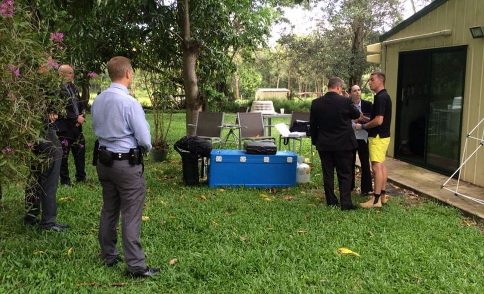Australian Federal Police execute a search warrant at the Beerwah home of James Ashby. Photo: Jordan Foster/ WIN News
