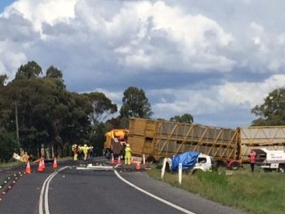 The scene of the horror triple fatal crash at Brookstead south of Toowoomba.