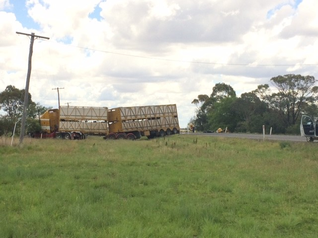The cattle truck involved in a crash on the Gore Hwy that killed three people.