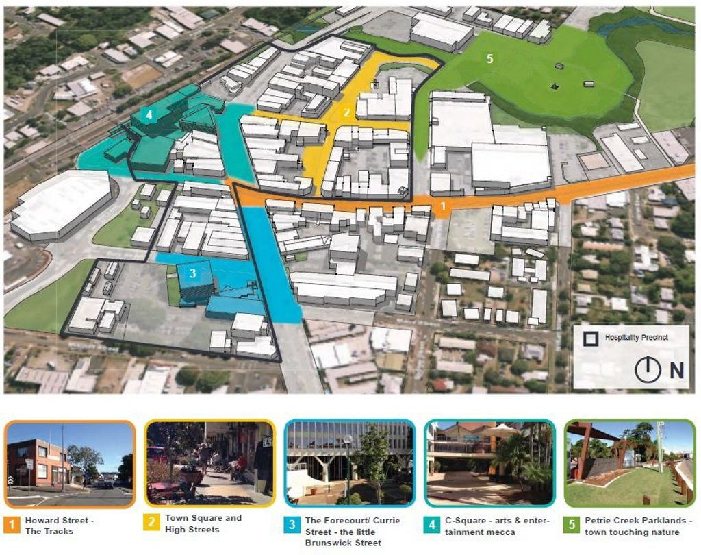 The draft Nambour Activation Plan identifies five key placemaking locations.