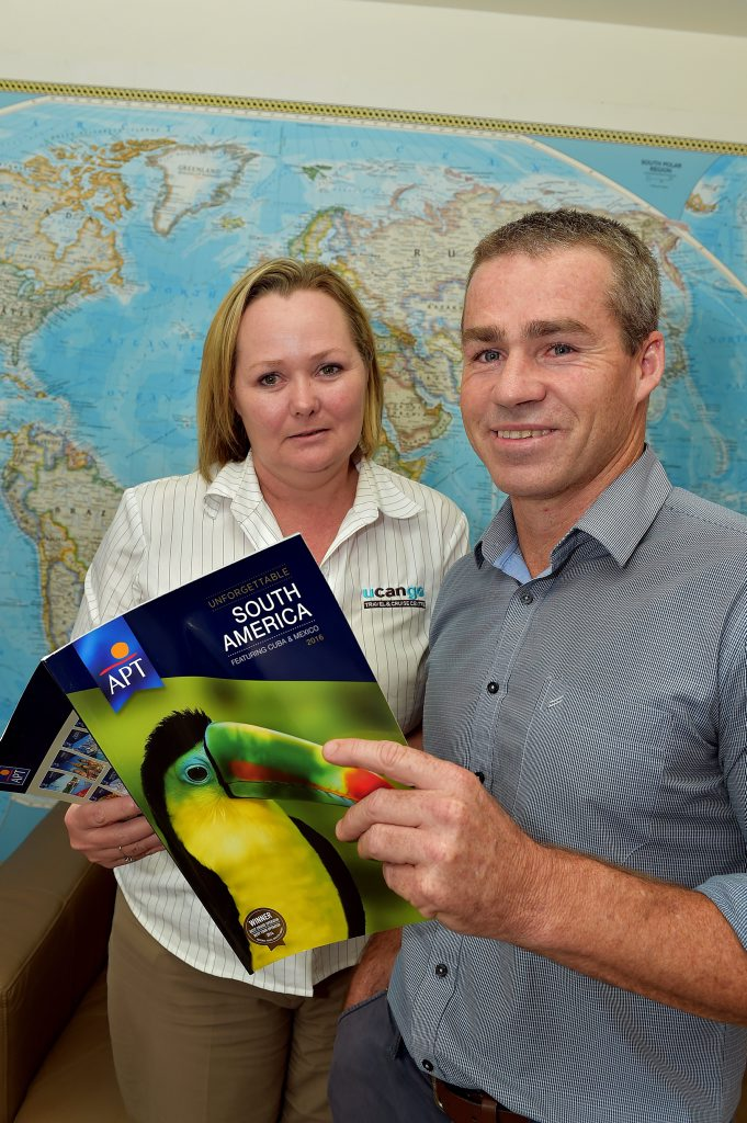UCANGO Travel Mararoochydore owner Dave Hulsman with manager Gillian Connors.